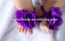 2012 new style cute baby toddler flower shoes top baby Sandals baby Barefoot Sandals