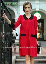Fashion garment 2012 newest doll collar long sleeve cotton maxi dress