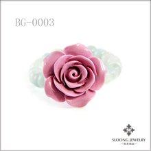 Amazonite Semi Precious Stone Elastic Bracelet with Large Lavender Flower Accent Charm