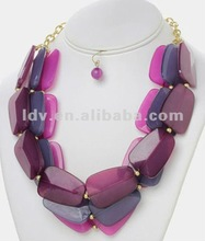 3 Tone Color Stones Necklace Set Pendent Multiple & Multi-Color Acrylic Necklace Set For Costume Jewelry 2012