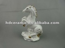 American Country style Pottery Faust horses white color Ceramic Horse with Home decoration