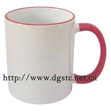 11oz Ceramic Sublimation Coated Color Rim Mug (Red)