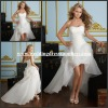 ML032 Hot Selling Asymmetrical Strapless Front Short Long Back Sexy Wedding Dress