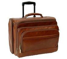 Custom-made suitcase PU trolley luggage retro Men Airlines Luggage Trolley Case Brown trolley bag