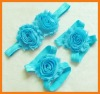 Wholesale cheap baby flower barefoot sandles headband and sandle set