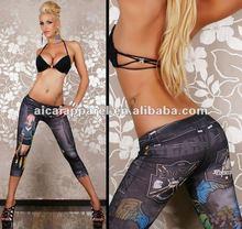 Wholesale seamless tattoo print tights Ladies jeans look like capri leggings sex photo