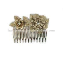 golden flower hair comb