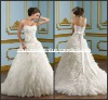 ML083 New Arrival Strapless Ruffled Skirt Princess Yoyal White Layers Chiffon Wedding Dress