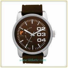 New design brown dial black band quartz watch 2013