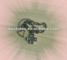 CROSS BORN AGAIN CHRISTIAN PENDANT DOG TAG BALL CHAIN NECKLACE NICKEL FREE METAL