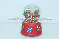 X'mas gingerbread man water globes with music 100mm