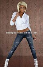 Wholesale tattoo print tights Ladies destroyed jeans look like leggings sex photo