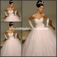 HYD-3003 Hot Baby Pink Sweetheart Tulle Made Corset Gown Princess Wedding Dress