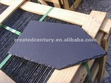 Black slate roof in pentagonal slate