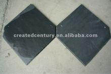 Natural black slate roofing in hexagonal slate