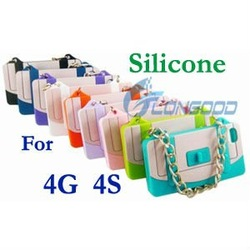 Cute Protable Soft Silicone Hand Bag Case for iPhone 4 4S