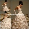 HYD-3025 Sweetheart Backless Embroidey Corset Rouched Taffeta Baby Pink Wedding Dress