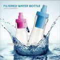 Moda de plástico botella de agua filtrada contiene de carbono en el exterior