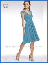 2012 Crinkle Chiffon Flutter Sleeve Knee Length With Ruffled Neckline Bridesmaid Dresses