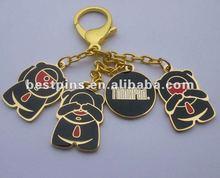 gold enamel key chain set, lobster key charms,
