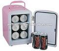 4l mini geladeira geladeira carro ac/operação dc portátil mini refrigerador refrigerador e aquecedor com 6 coque latas
