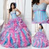 QU-097 Blue and pink bling arabic wedding dress 2013