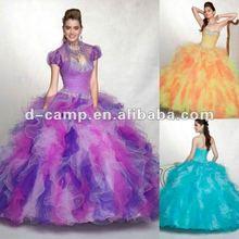 QU-109 Detachable shell purple and white wedding dresses