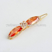 Fashion Jewelry-2013 best selling bow tie shaped hair pin, orange colored hair pin, emerald jewelry, diamond jewelry