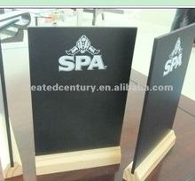Menu chalk board natural slate with wooden stand