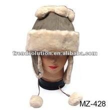 hot sale girls faux fur animal hood hat