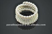 5 row pearl and rhinestone graduated wraparound coil bracelet-BRW060404