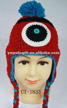 One EYE Monster crochet hat winter earflap