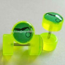 body piercing jewelry bread logo bright yellow acrylic fake ear plug /ear expander