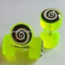 body piercing jewelry new spiral logo bright yellow acrylic fake ear plug /ear expander