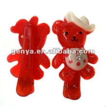 2013 New Beautiful Kids plastic hair Clip, Cute bear hairpin