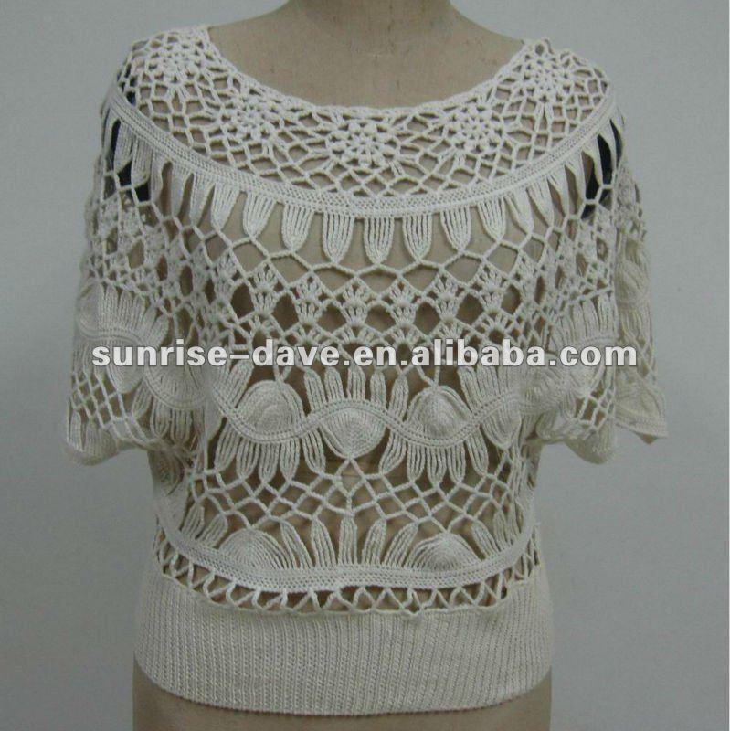 Ladys Fashion Batwing Shirt& Crochet Top Pattern - Buy ...