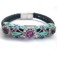 Hot selling Purple Rhinestone Metal Pave Magnetic Bracelet