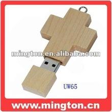 Custom shaped wood usb flash cross