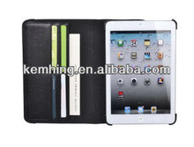 360 Degree Rotating Flip leather case for iPad mini with card hold