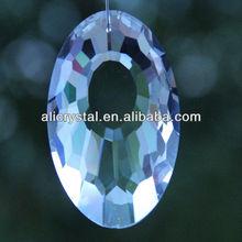 Crystal Oval shaped laser etched hanging pendants