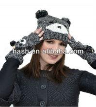 winter animal hat and glove set