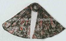 2012 dark army green hot sale printing lace inner scarf(SCF121008_1607)