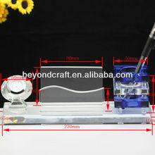 High quality crystal glass office desk sets,crystal clock,business card holder and pen holder stationary set