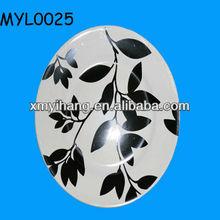 2013 new arrival ceramic white with black design salad plate