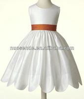 2015 new style white taffeta girl dresses for teenages
