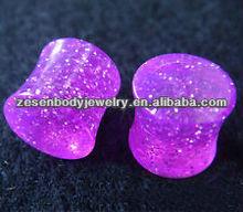 Fashion Acrylic UV Glitter Ear Plug Piercing Jewelry