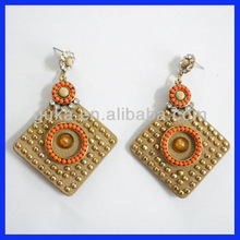 Rivet earring 2012, diamond earrings with leather, new style earrings wholesale