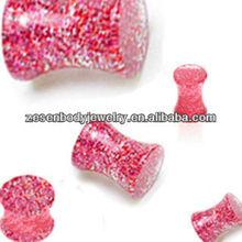 Fashion Women UV Saddle Glitter Ear Plug Piercing Jewelry