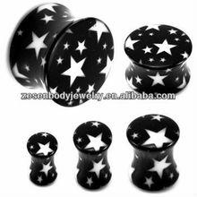 Charming UV Black Star Custom Big Gauge Ear Plug Body Jewelry
