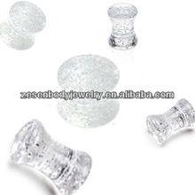 Fashion clear UV saddle glitter custom ear plug piercing jewelry
